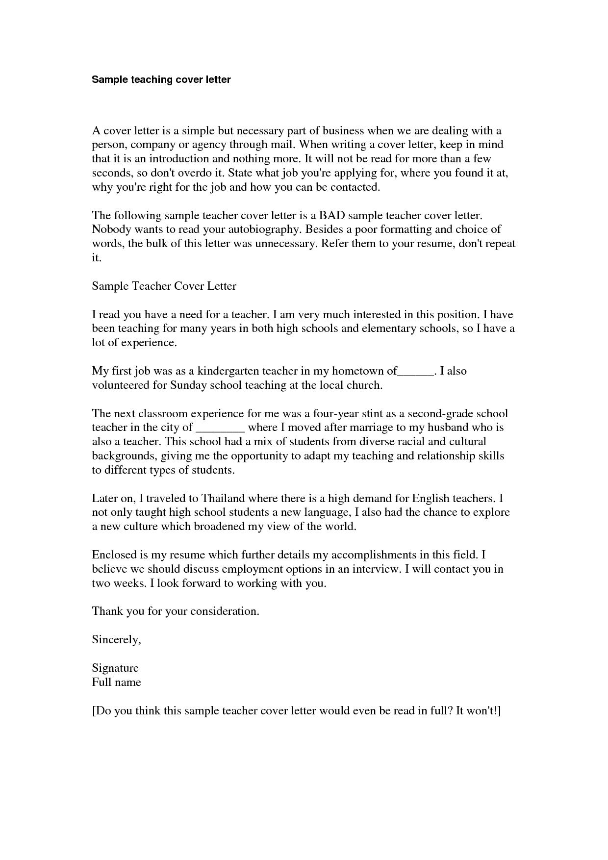 kindergarten teacher cover letter