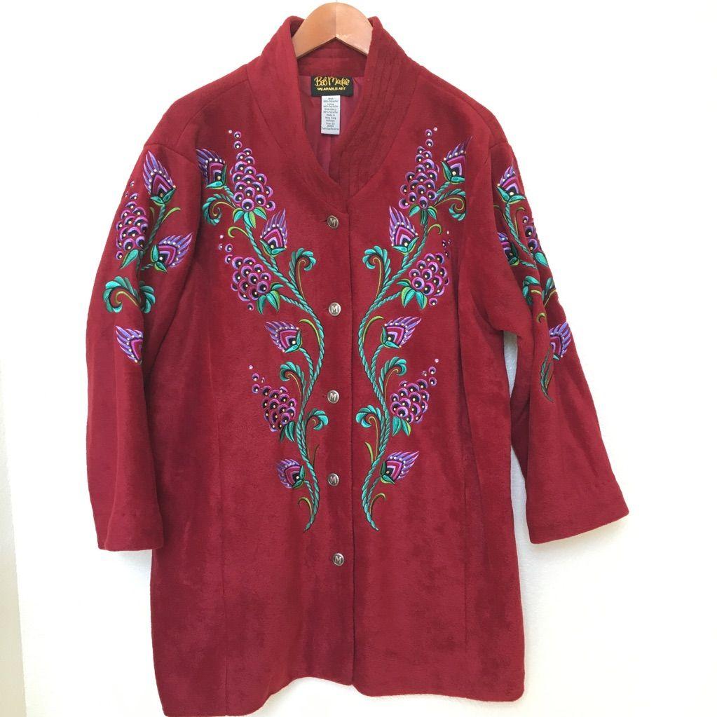 Bob mackie fleece jacket emroidered deep red 2x red