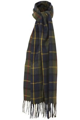 Green & Navy Tartan Check Scarf in ACCESSORIES from Apricot