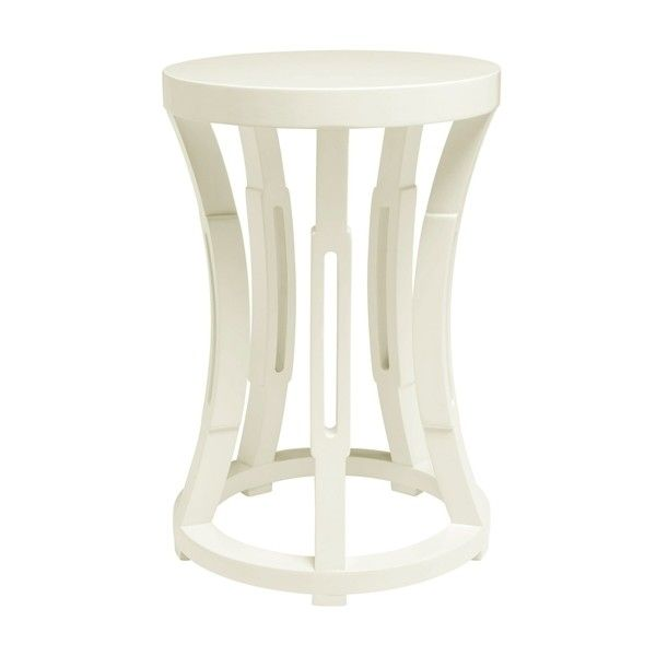 Hourglass Stool or Side Table in White ($338) ❤ liked on Polyvore featuring home, furniture, tables, accent tables, white occasional table, white chairside table, white lamp table, white furniture and white side table