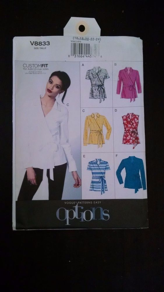 Vogue Pattern V8833 Custom Fit Wrap Blouse Shirt Top Size B5 8 10 12 14 16 New #VoguePatterns