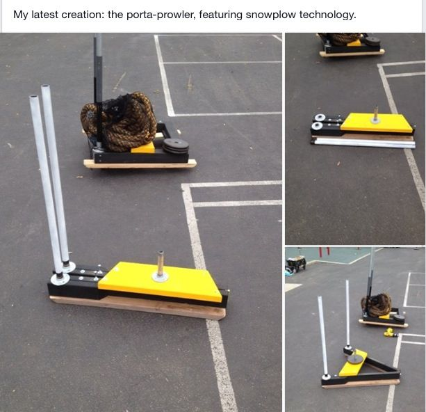 This Is My Latest Creation A Portable Collapsible Prowler Sled Diy Workout No Equipment Workout Diy Home Gym