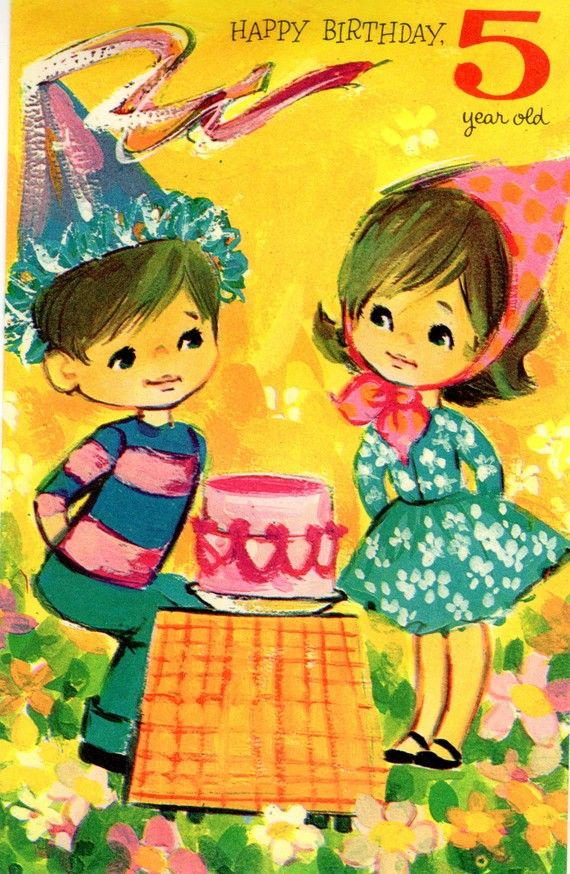 Vintage 1960s Birthday Card For Five 5 Year Old Child With Cake