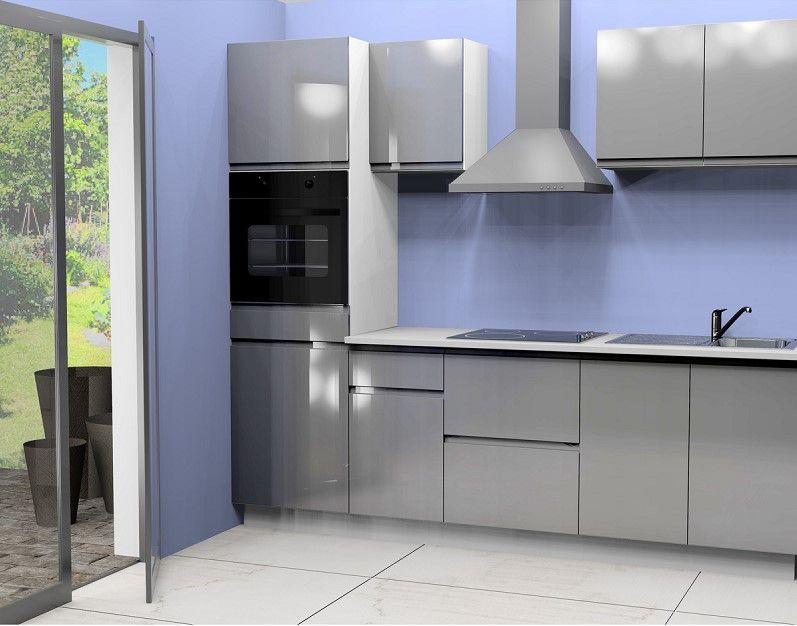 cuisine quip e anna 2 pas cher l255 cm coloris gris prix promo cuisine quip e meubles pas. Black Bedroom Furniture Sets. Home Design Ideas