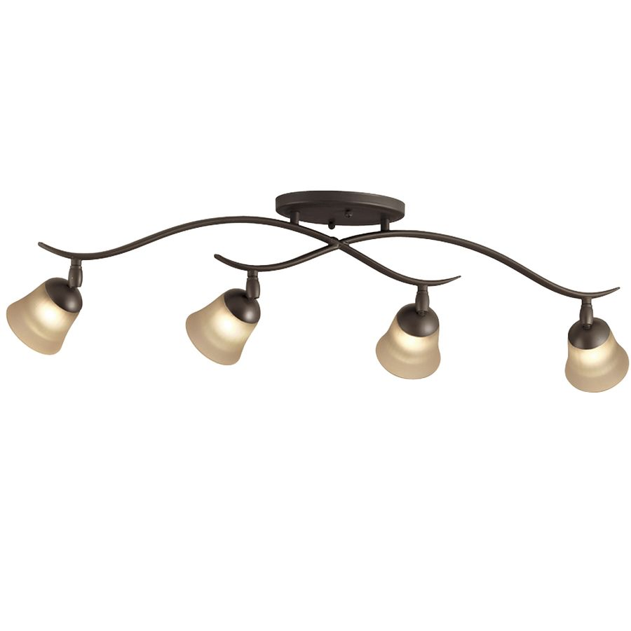 Lowes Track Lighting Fixtures: Portfolio 4-Light Olde Bronze Flush Mount Fixed Track