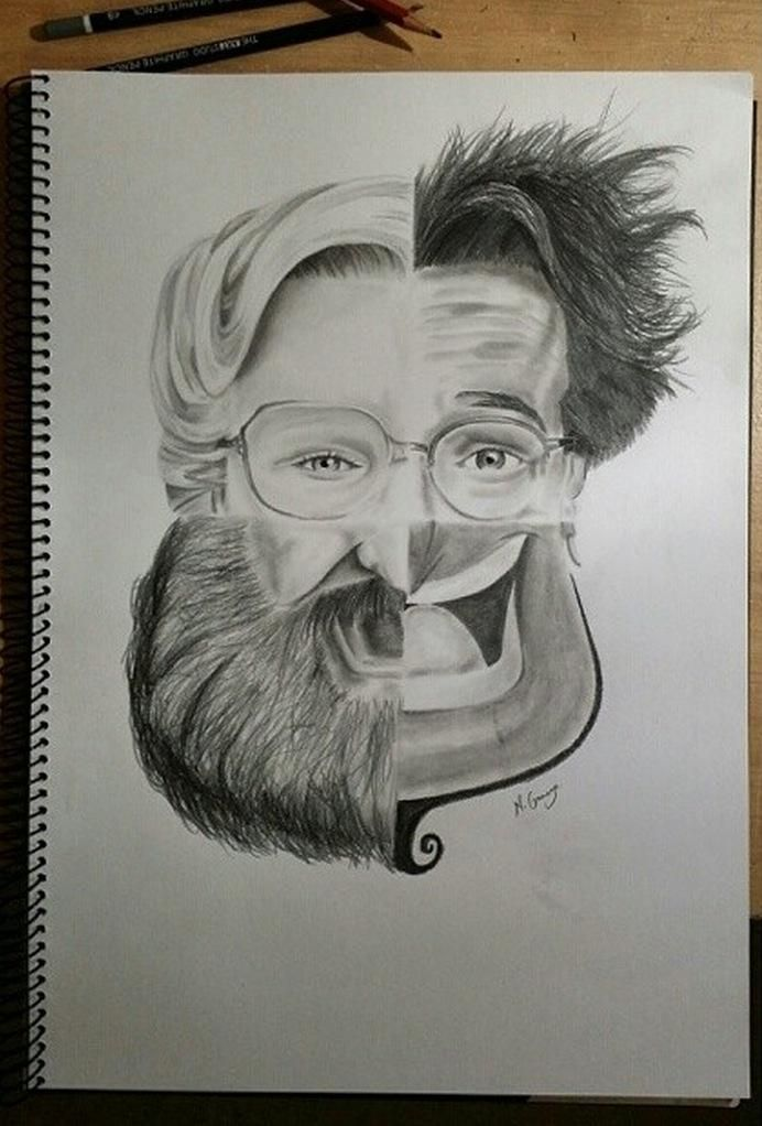 Awesome tribute to robin williams would make a cool art for Awesome face drawing