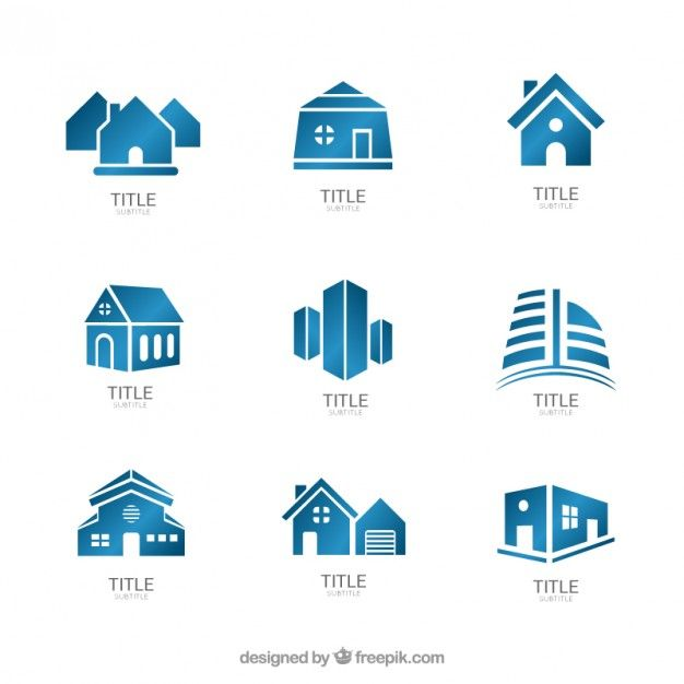 Blue real estate logos Free Vector Free Resources Pinterest - fresh blueprint entertainment logo