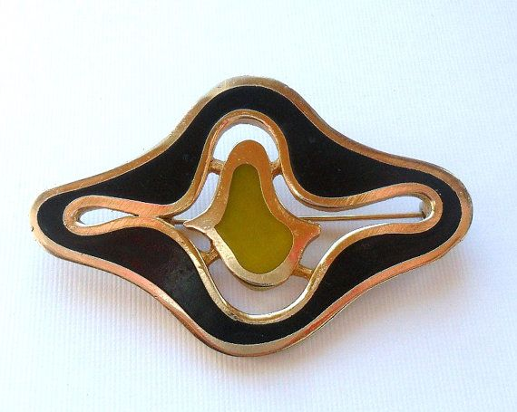 Large Funky Yellow and Black Mod Brooch