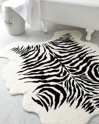 Decor Accessories Kenya Bath Rug Neiman Marcus Black And White Zebra Print Safari