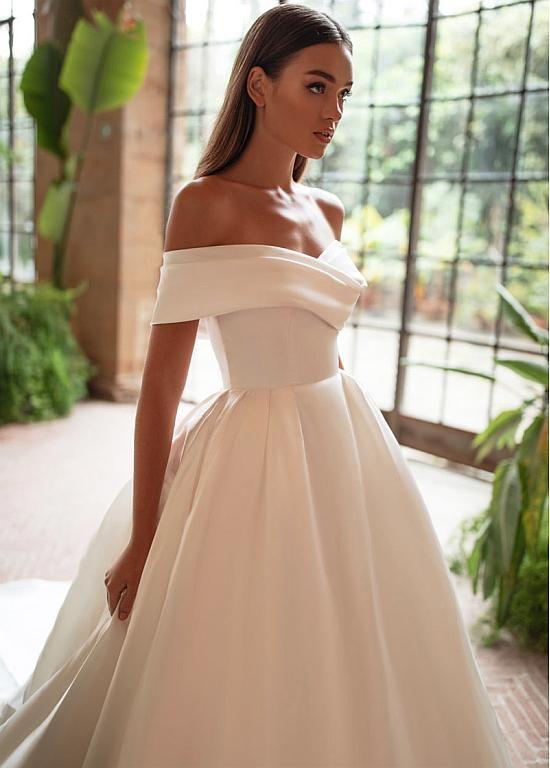 Magbridal romantique Satin Off-the-épaule décolleté robe de bal robes de mariée   – Products