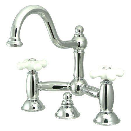 Centerset Bathroom Faucet With Double Porcelain Cross Handles