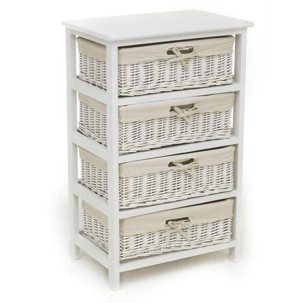 White Willow 4 Drawer Storage Unit Wicker Bathroom Storage