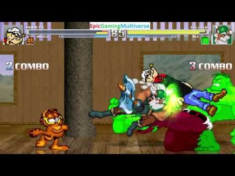 The Hulk And Gilius Thunderhead VS Popeye And Garfield The Cat In A MUGEN Match / Battle / Fight This video showcases Gameplay of Garfield The Cat From The Garfield And Friends Series And Popeye The Sailor Man VS Gilius Thunderhead The Dwarf From The Golden Axe Series And The Hulk In A MUGEN Match / Battle / Fight