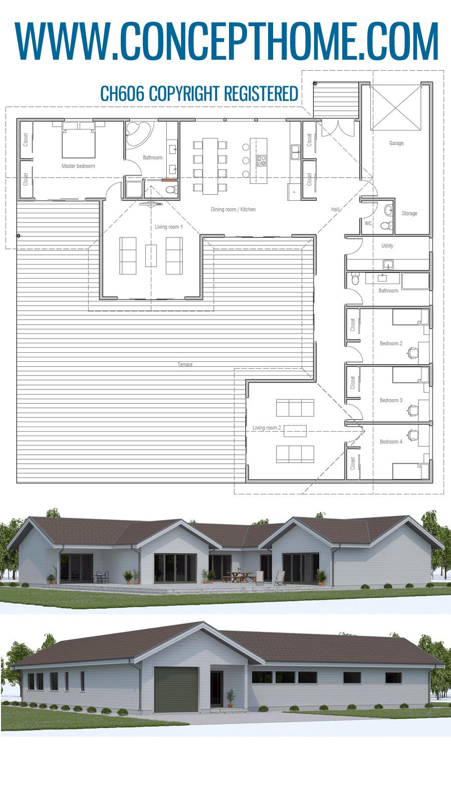 Floor Plan Ch606 Architect House House Plans Floor Plans