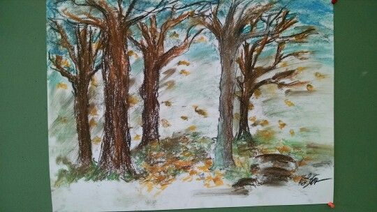 Drew this with pastels . Fall trees with blowing wind