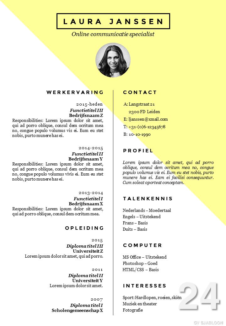 cv sjabloon   sollicitatiebrief sjabloon in word volledig zelf te bewerken       deleydsche nl