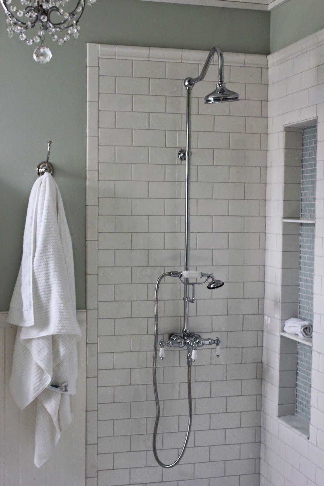 Shower niche tutorial shower niche white subway tiles and mosaic diy tall shower niche tutorial with exposed shower mosaic glass and white subway tile dailygadgetfo Gallery