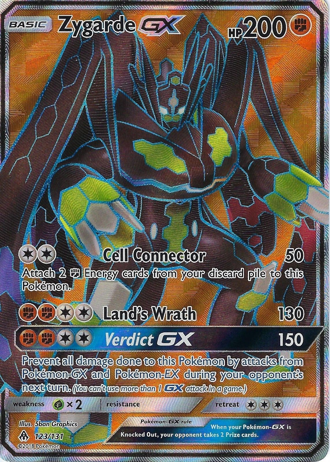9 95 Gbp Pokemon Sm Forbidden Light Card Zygarde Gx 123 131