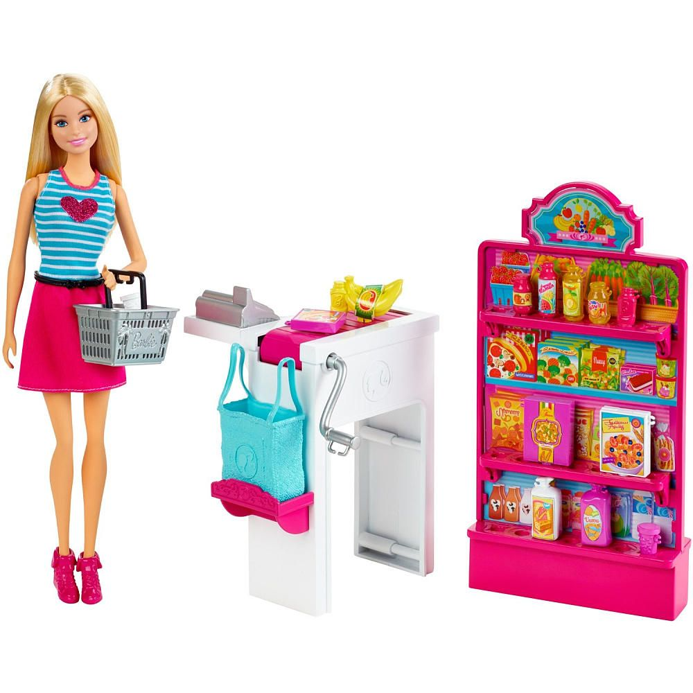 Barbie Malibu Ave Grocery Store with Barbie Doll Playset ...