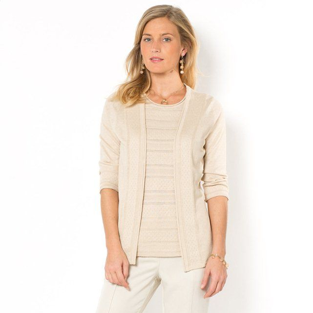 Open Cardigan with 3/4-Length Sleeves, 42% Linen