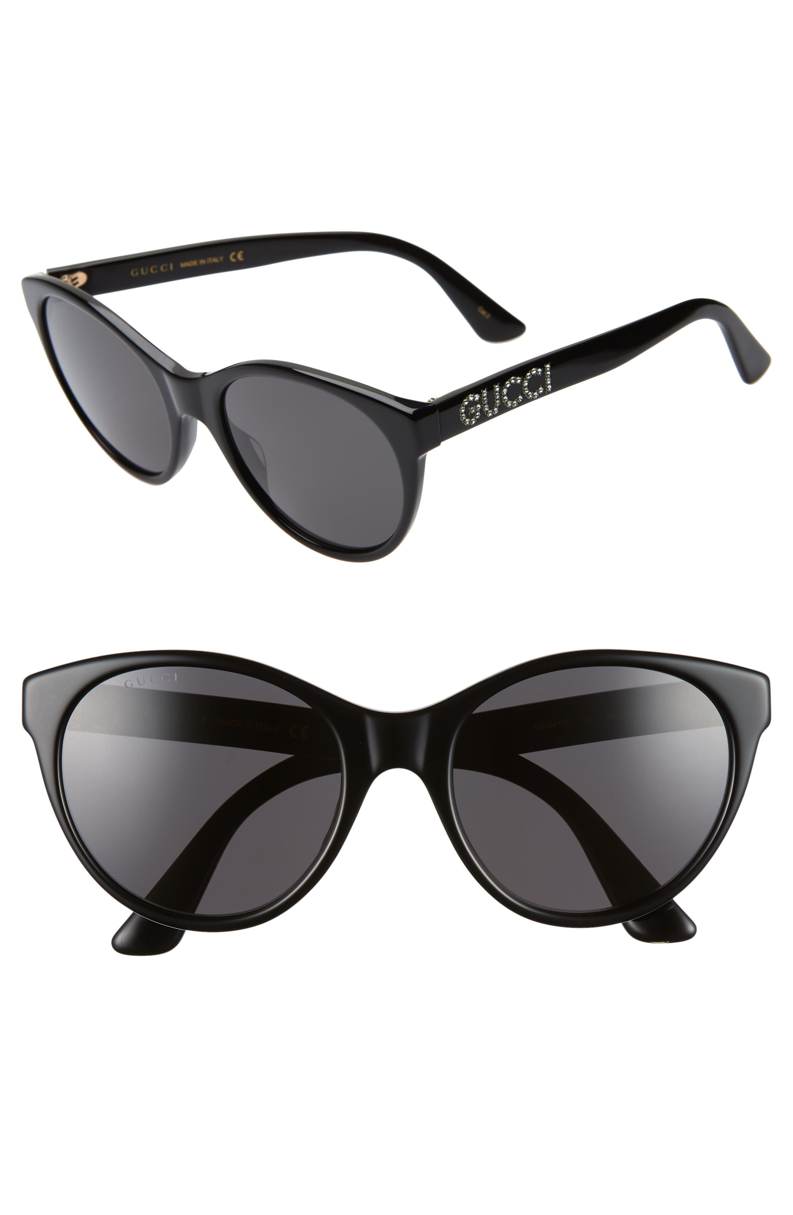 73d98c13f Women's Gucci 54Mm Round Cat Eye Sunglasses - Black/ Crystal/ Solid Grey