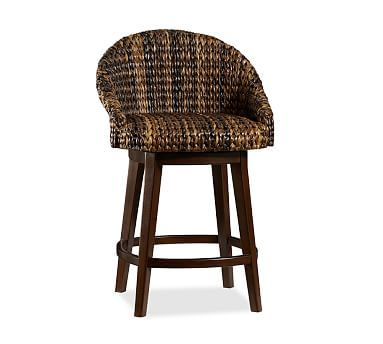 Seagr Bucket Swivel Barstool Potterybarn Bar Height Available In Havana Dark Weave Shown Or Honey 319 Delivery Surcharge 10