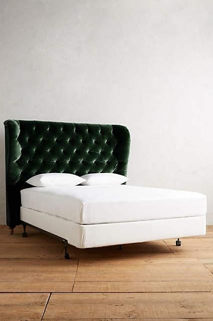 Green Velvet Tufted Wingback Headboard