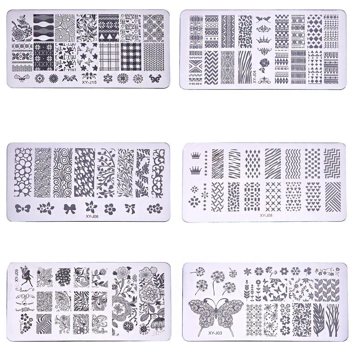 1Pcs 6cm*12cm 16 Patterns Nail Art Stamping Plates Template Stamp ...