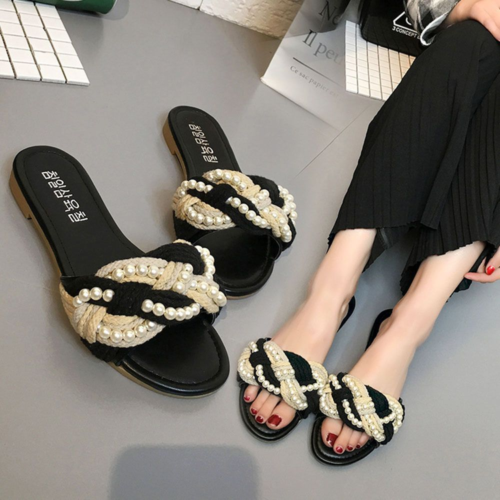 Ladies Slip On Pearl Flat Sliders Womens Summer Flip Flops Slipper Mules Sandals