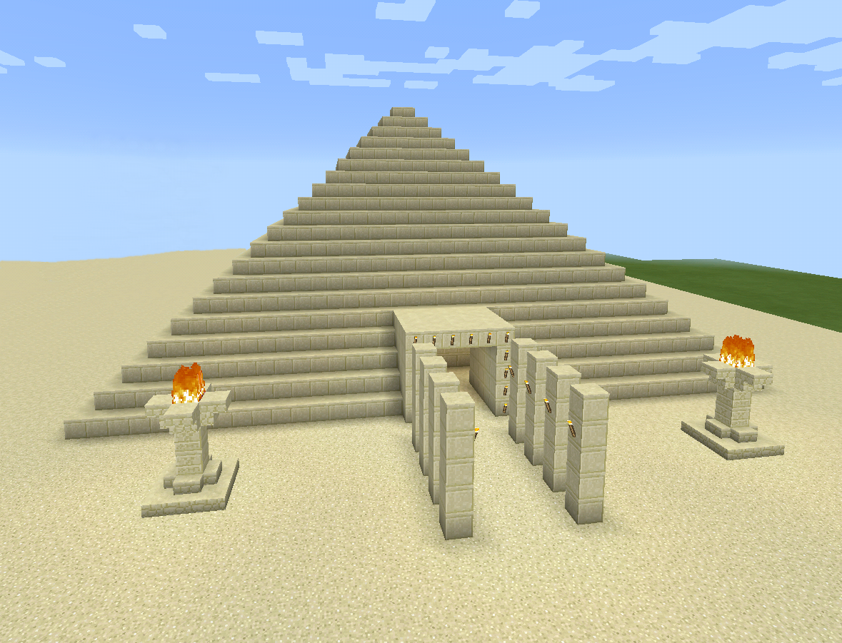 Minecraft sand egyptian fire pyramid minecraft creations for Things to know when building a house