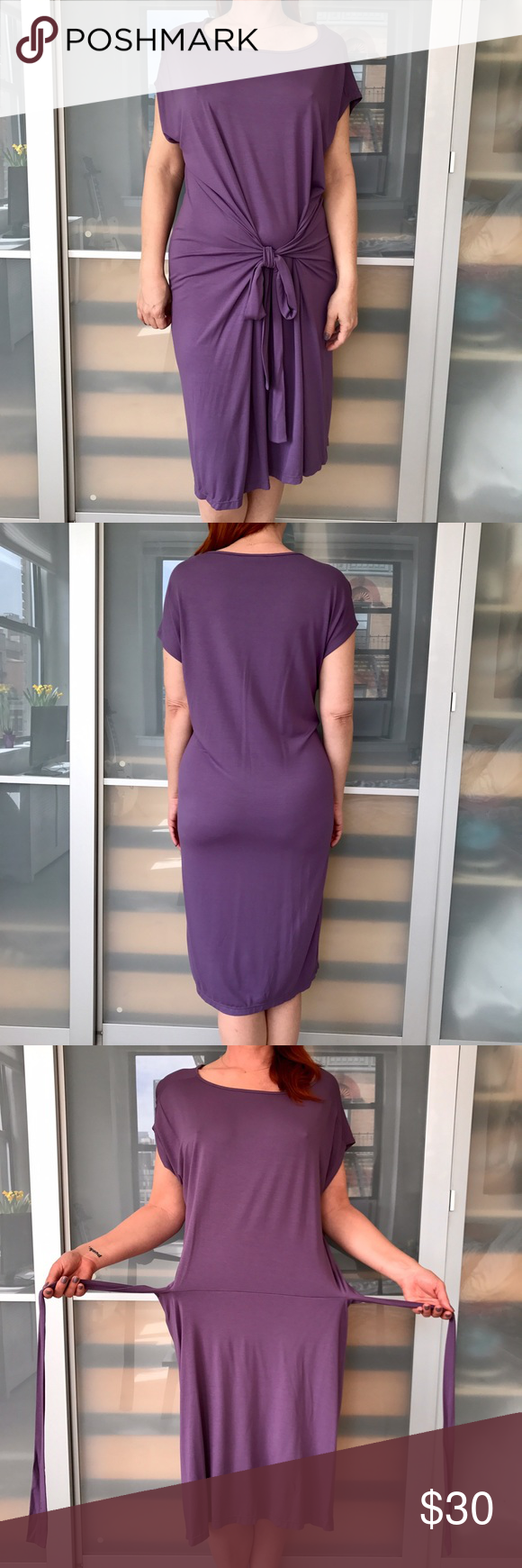 Lenny Niemeyer purple jersey dress Lenny Niemeyer purple jersey dress.  Cap sleeve, round neck, self tie belt.  Easy summer dress, rayon jersey.  Great condition. Lenny Niemeyer Dresses Midi
