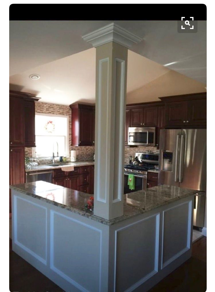 i like the column post added to the island home pinterest kitchen kitchen remodel and on kitchen remodel with island open concept id=48782