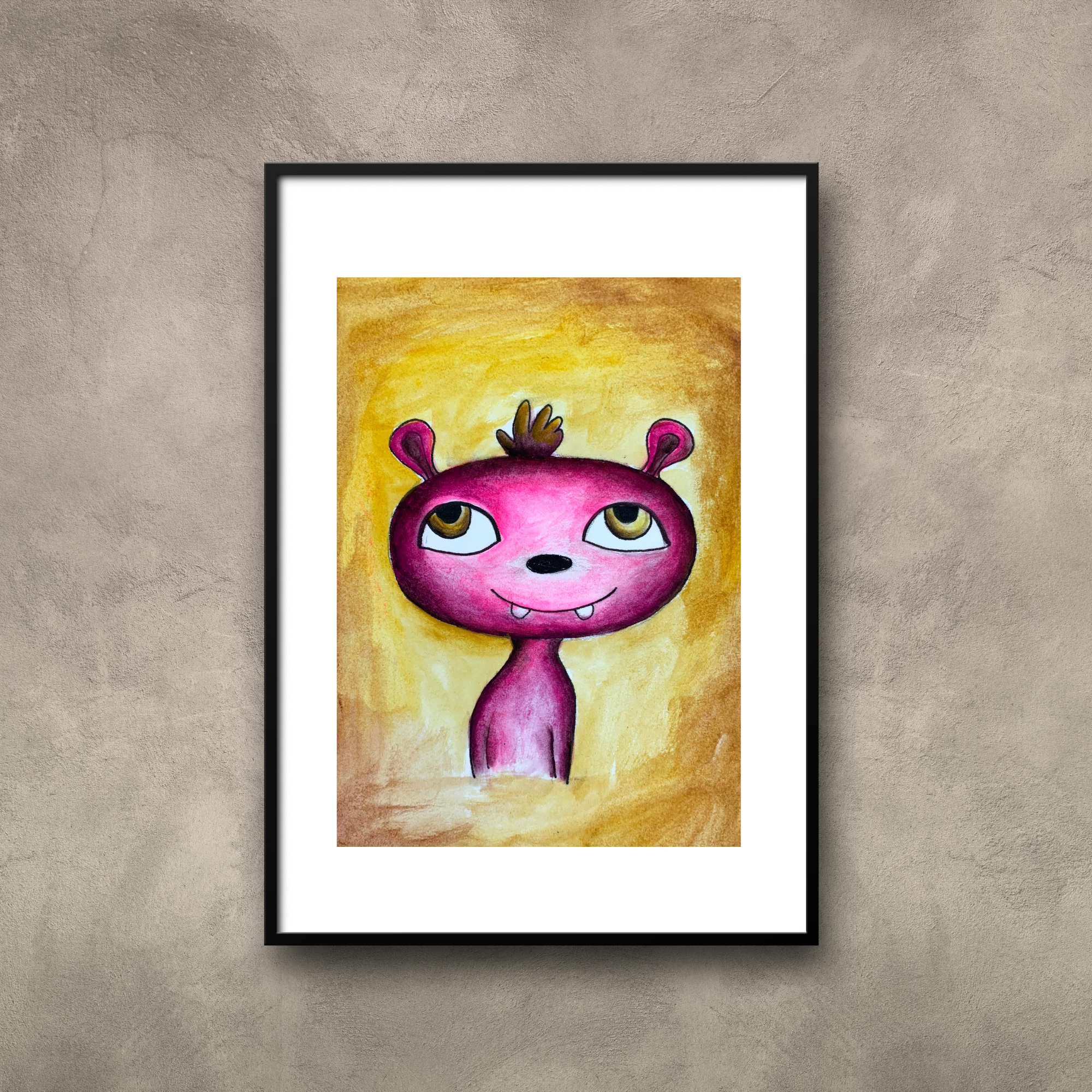Happy Monster Painting Fantasy Creature Spooky Art Print Etsy In 2020 Etsy Painting Feel Better Gifts Etsy