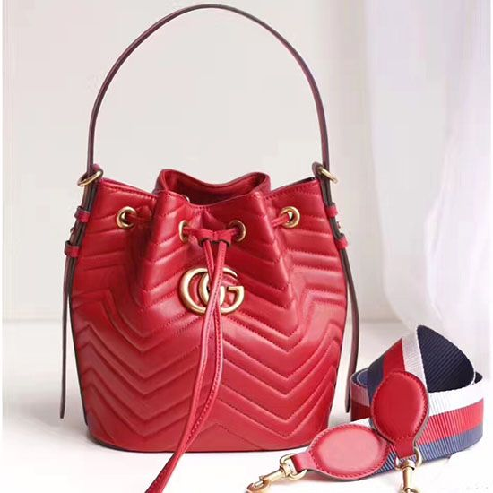 Gucci GG Marmont Leather Bucket Bag 476674  a807577b80ec6