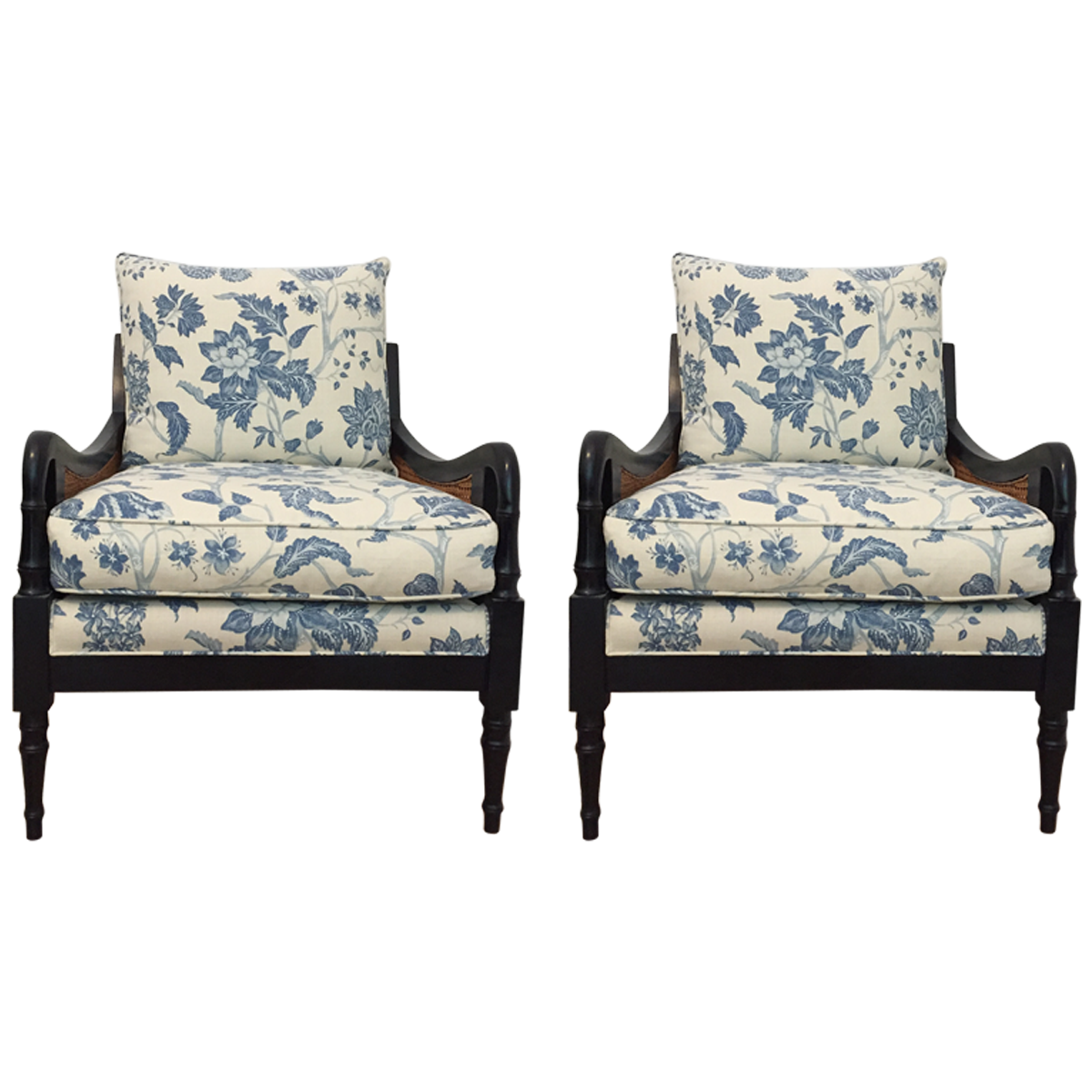 Cane And Wood Upholstered Armchairs | Upholstered arm ...