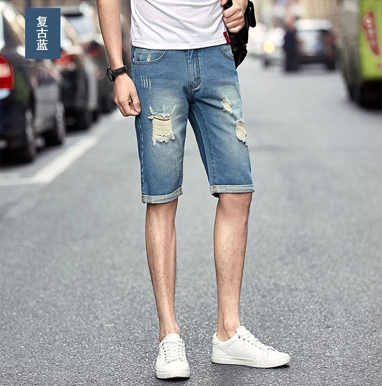 eff6008fec8b4 1PCS Mens Summer holes half lengh jean shorts slim Denim Shorts Denim Shorts