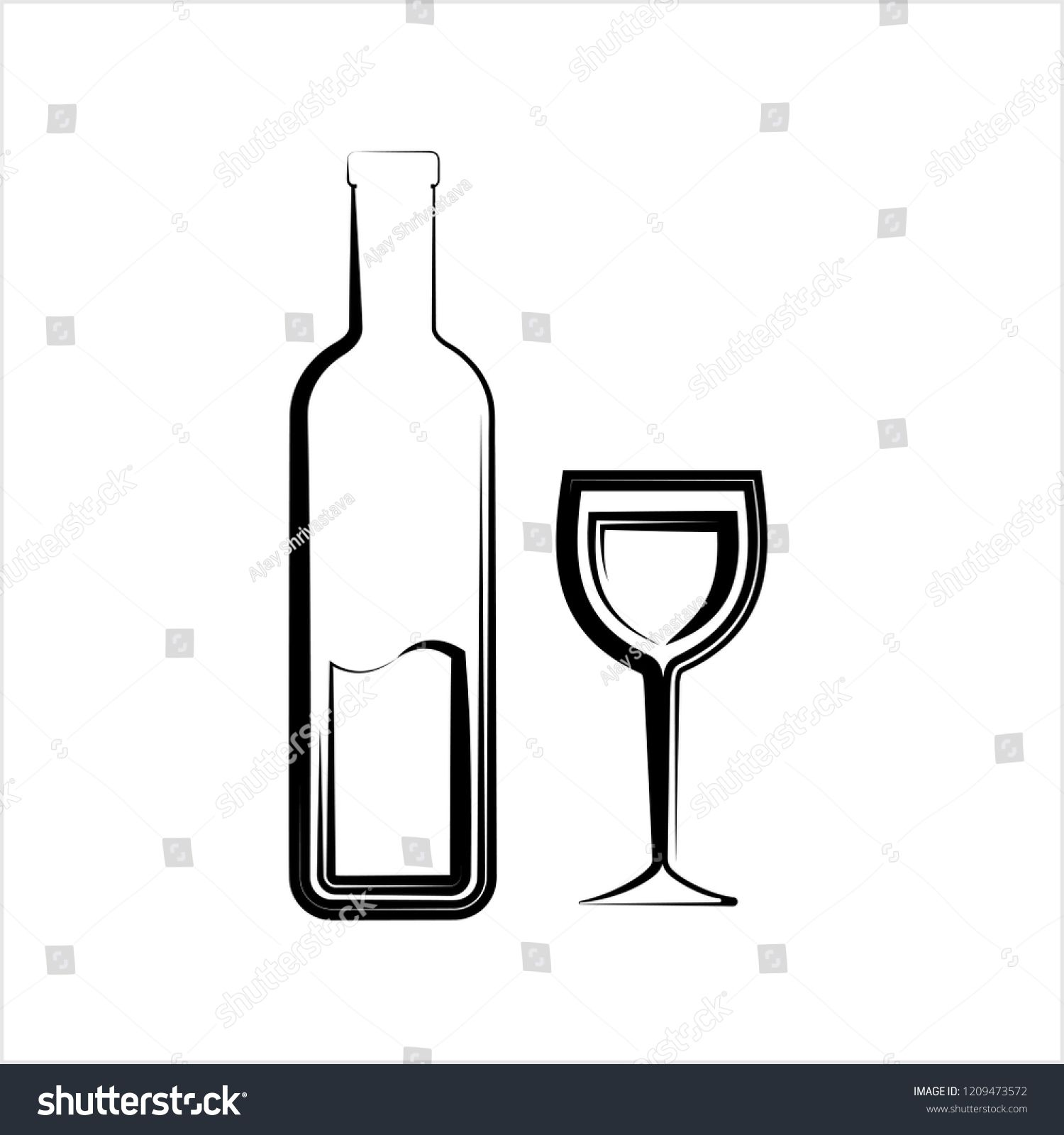 Bottle Of Wine And Glass Vector Art Illustration Ad Ad Glass Wine Bottle Illustration Vector Art Illustration Wine Bottle Illustration Wine Bottle
