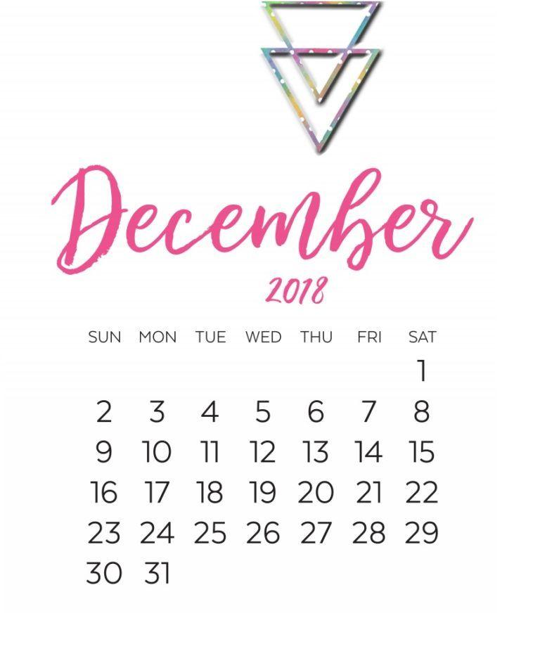December 2018 Calligraphy Calendar Printable Calendar Printables