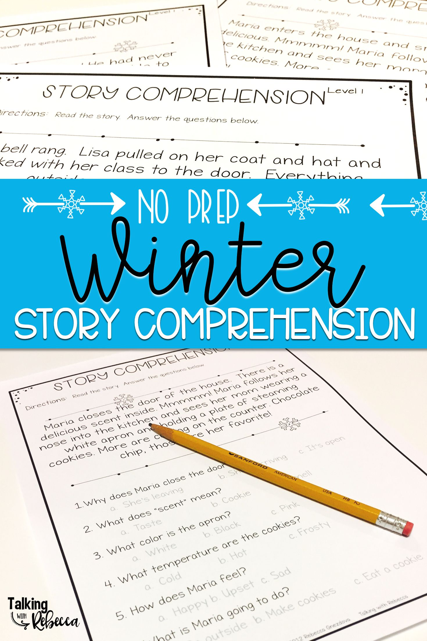 Winter Story Comprehension Worksheets | Pinterest | Reading skills ...