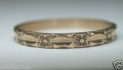 Antique Art Deco Wedding Band Ring 10K SZ-10.5 UK-U1/2 Vintage Estate Bridal (Yellow)