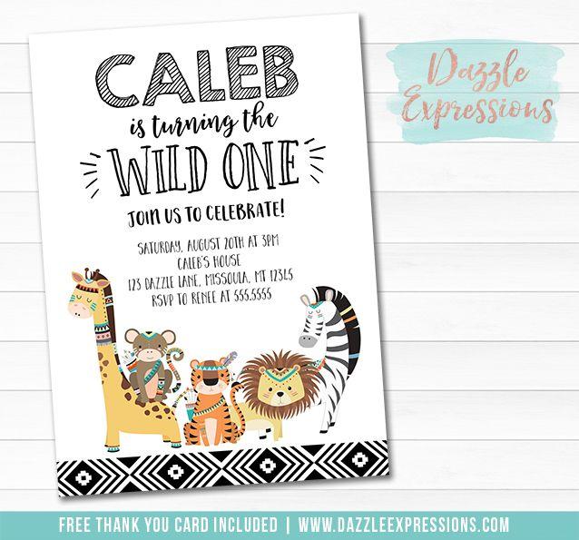 Printable Wild One Jungle Birthday Invitation Modern Black and