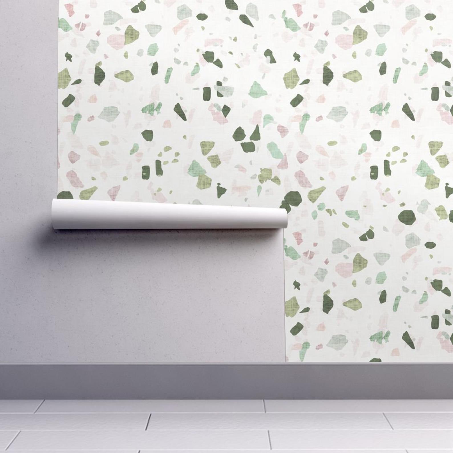 Terrazzo Wallpaper Petra Terrazzo By Holli Zollinger Green Etsy Self Adhesive Wallpaper Wallpaper Roll Terrazzo