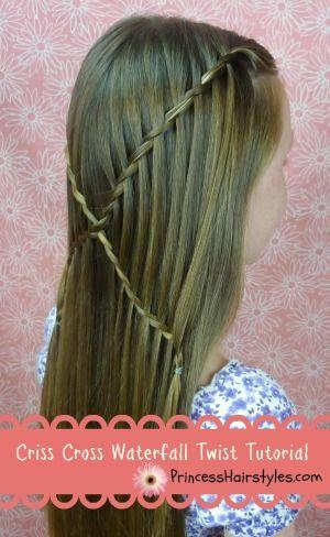 Criss cross waterfall twist braid hairstyle