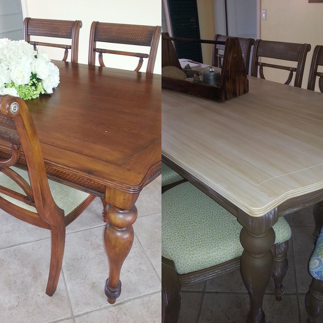 This is a fabulous dining room table transformation using dixie belle paint
