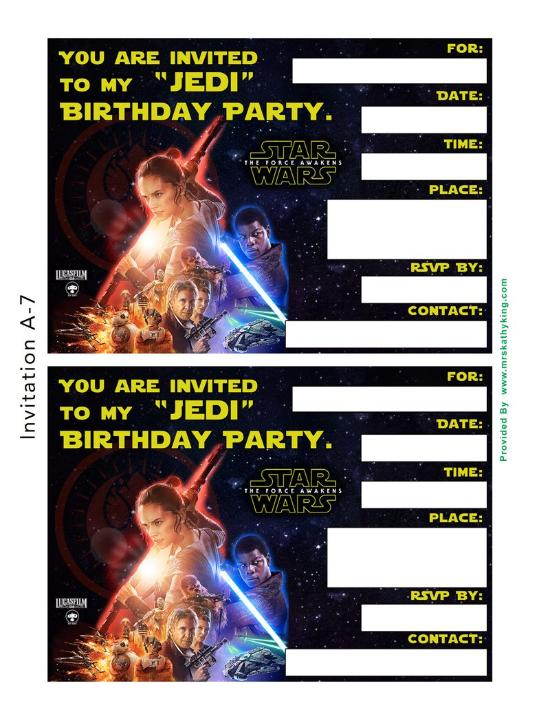 Free Printable Star Wars Birthday Invitations Star Wars Party
