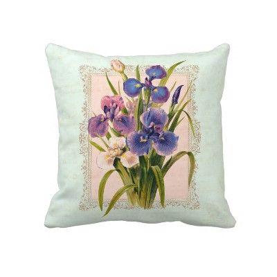 Iris Gardener's Pillow - Vintage Botanical Print.
