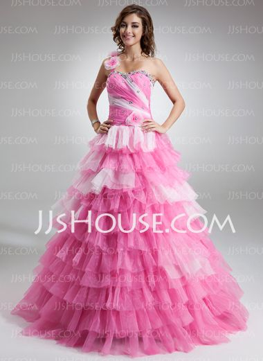395143c3a66 A-Line Princess One-Shoulder Floor-Length Organza Satin Quinceanera Dresses  With Ruffle Beading (021016759) - JJsHouse