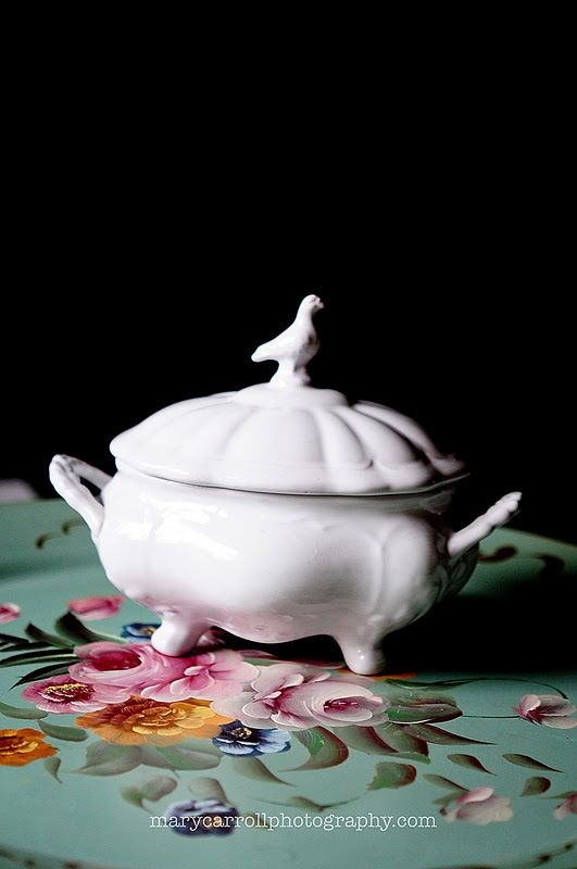 Two favorites. White soup tureen and a tole tray!