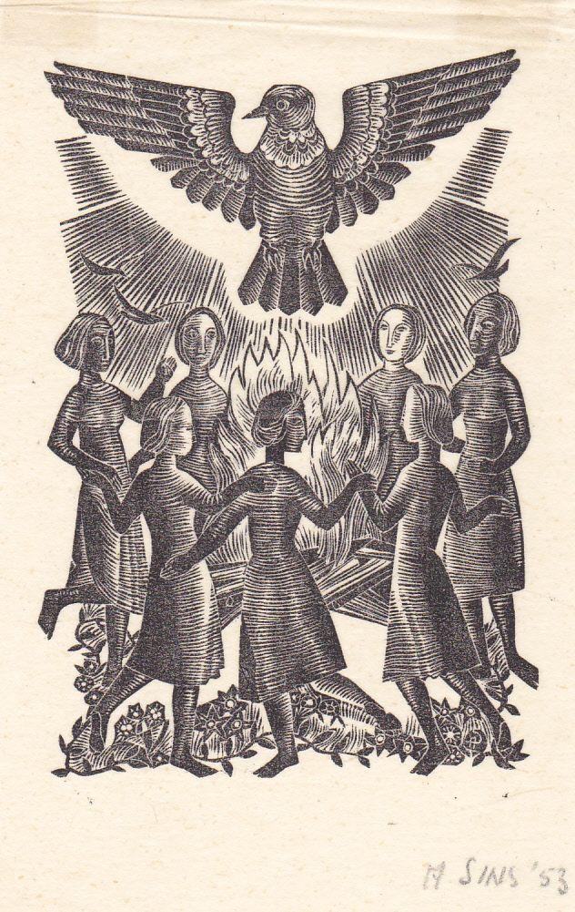 exlibris Akke Sins, woodengraving