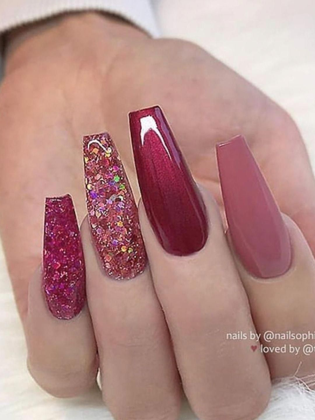 Gorgeous Mauve And Maroon Set For Fall Time Fallnailideas In 2020 Fall Manicure Fancy Nails Coffin Nails Designs
